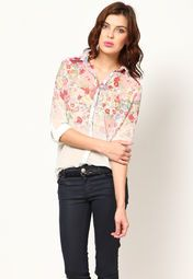 Featuring an attractive floral print all over, this white coloured shirt from Bronz will add oodles of charm to your appearance. This georgette shirt is lightweight and so is an ideal pick to embrace comfort.