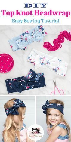 Learn How to Make this DIY Infant, Girls & Women's Top Knot HeadWrap Bow Sewing Pattern.
