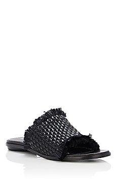 Leather & Raffia Slide Sandals