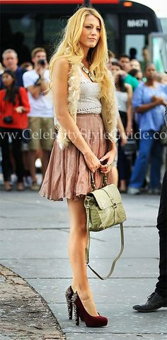 Blake Lively wore a Haute Hippie Feather Sequin Vest was spotted on the set of Gossip Girl on Thursday (September 1) in New York.
