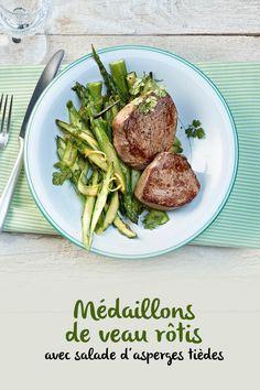 Les tendres médaillons de veau ne connaissent pas de saison. Contrairement à la salade d'asperges qui les accompagne. Savoure cette légère combinaison printanière aussi longtemps que possible! Valeur Nutritive, Nutrition, Quiche, Beef, Food, Asparagus, Salads, Meat, Suit