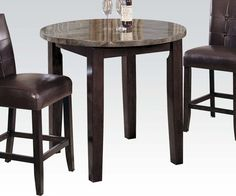 Acme Furniture - Danville Counter H. Table, Black Marble & Walnut - 07218