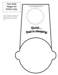 """Printable Programmable door knob hanger that says...""""Quiet Dad is sleeping"""" from Making Learning Fun."""