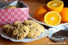 Chewy cookies med sjokoladebiter og appelsin   Det søte liv