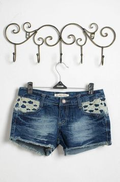Denim Patchwork Lace Middle Waist Shorts. Dareen Hakim Collection  Chic. Bold. Unexpected.  www.dareenhakim.com
