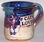 "DAVE MATTHEWS POTTERY- ""CAT LOVER"" MUG"