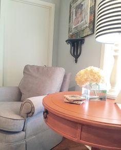 Painted furniture, linen, swivel rocker, comfy corner, Gray Owl paint