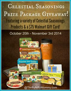 Celestial Seasonings Giveaway / Celestial Seasonings products and a $75 Walmart Gift Card.