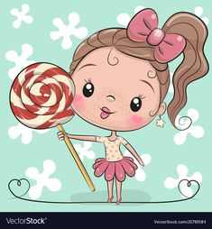 Illustration about Cute Cartoon Girl with Lollipop on a blue background. Illustration of drawing, background, cartoon - 123431545 Cartoon Cartoon, Disney Cartoon Characters, Cute Cartoon Girl, Cute Girl Face, Simple Cartoon, Disney Tattoos, Cute Images, Cute Pictures, Blue Drawings
