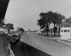 Racetrack at the Cuyahoga County Fairgrounds, Berea, Ohio.  1928.