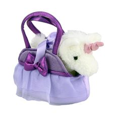 Title: Unicorn in Purple Handbag Fancy Pals Size: Measures 8 inch / 20cm long Price: AUS$ 22.95 Brand : Aurora  Lots more items like this available at: www.stuffedwithplushtoys.com 100 Day Returns |Fast Trackable Shipping|Google Trusted Store