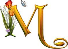 Bello Alfabeto con Flores y Mariposas.