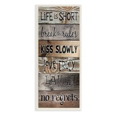 Brimming with rustic visual texture, the The Stupell Home Decor Collection Life is Short Planked Canvas Wall Art brings a warm and charming inspiration. Boat Names, Visual Texture, Pallet Signs, Pallet Art, Diy Pallet, Diy Signs, Typography Prints, Sign Quotes, Life Is Short