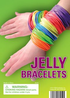 "Jelly bracelets!!  Didn't know if I should do braclets or shoes for ""jellies"" so I did both....remember all the COLOURS....and we would wear probably the same amount as in the pic!!"