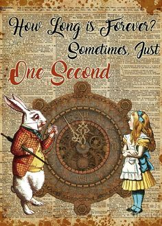 Alice In Wonderland Poster featuring the mixed media Alice And White Rabbit Vintage Dictionary Art Quote by Anna W