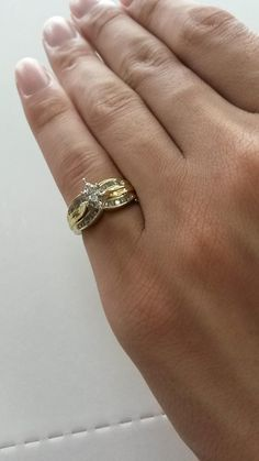 Estate 10k Yellow Gold Marquise Diamond Ring .30ct tw Engagement Double Band