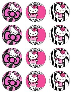 Edible HELLO KITTY Hot Pink and Zebra Cupcake Toppers 12 edible images for Cupcakes, cookies, brownies or any dessert birthday