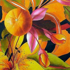 Love Of Orange, Still Life Fruit and Floral Painting by Marina Petro, painting by artist Marina Petro