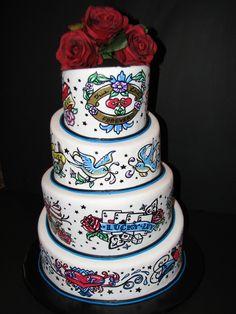 1950s Tattoo Themed Wedding Cake