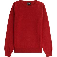 A.P.C. Wool-Cashmere Pullover ($265) ❤ liked on Polyvore featuring mens, men's clothing and red