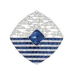 CHANEL, Biennale des antiquaires 2014, collection Café Society - broche Winter In France, or blanc, saphir de Ceylan de 15,7 carats, 48 saphirs, 181 diamants, 15 perles de culture du Japon