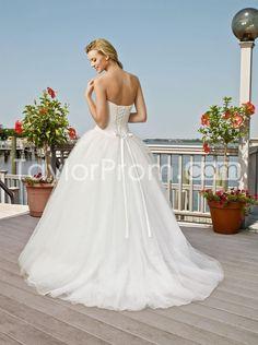 US $192.79 Amazing Ball Gown Sweetheart Floor-Length Court Organza Wedding Dresses (3AA0621)