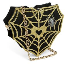 """Frighten Miss Muffet away with the Web Surfer Crossbody Purse! This creepy-crawly clutch has a 24"""" long crossbody strap, so no one can snatch your curds & whey. Rhinestone-encrusted spider."""