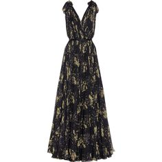 Alexander McQueen Floral-print silk-chiffon gown (£5,595) ❤ liked on Polyvore featuring dresses, gowns, long dress, corset style dress, plunging neckline dress, floral print gown, floral ball gown and floral evening gown