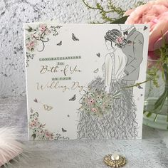 Congratulations to Both of You on Your Wedding Day - Handfinished Wedding Card with Crystals Office Branding, Dress Stand, Stoke On Trent, Couture Dresses, On Your Wedding Day, Beautiful Bride, Wedding Cards, Congratulations, Delicate