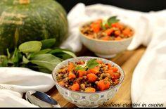 Zuppa di lenticchie, farro e zucca