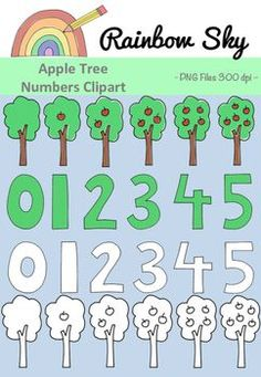 Apple Trees Clipart Numbers 0 - 5 Teaching number 0 – Need some variety? Here are some apple trees clipart to help with countin Tree Clipart, Teaching Numbers, Rainbow Sky, Apple Tree, Number 0, Teaching Resources, Worksheets, Trees, Clip Art