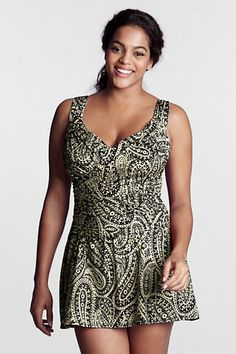 7bbd6a1b74 Women s Plus Size Paisley Print Slender Suit Draped Sweetheart Swimdress  from Lands  End - easy to add a front panel