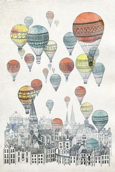 hot air balloons city art sketch watercolor