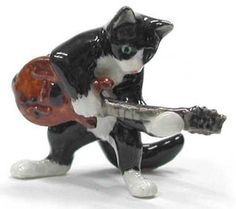 ➸ NORTHERN ROSE Miniature Figurine Black and White FAT Cat