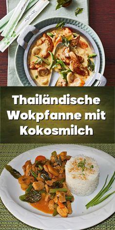 Thailändische Wokpfanne mit Kokosmilch. Shiitake, Ethnic Recipes, Food, Coconut Milk, Pork Cutlets, Carrots, Meal, Essen