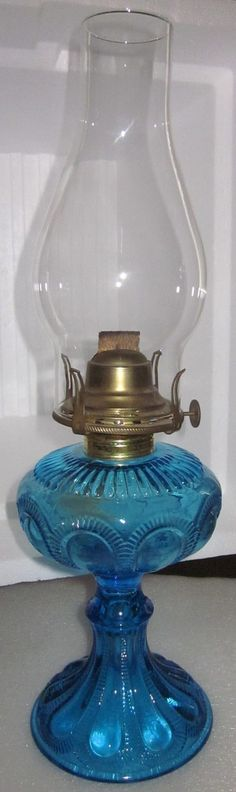 "Antique EAPG 1909 Imperial Glass Co. Blue "" Zipper Loop"" Oil Lamp"