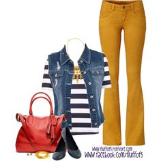 "Black, White Stripes, Red, Denim, Yellow Mustard Outfit ""Lucky Frolic in Flagstaff Flat"" by fluffof5 on Polyvore"