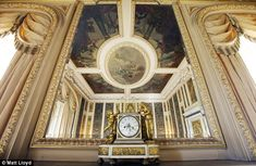 Highclere Castle: The ceiling of the music room is reflected in the mirror