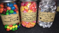 Crafty cute present for boyfriend or girlfriend, fill mason jars with candy!