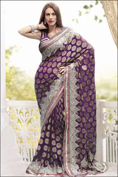 Designer Embroidered Saree; Purple Embroidered Wedding and Festival Silk Saree