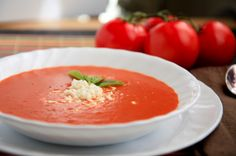 tomato soup - fresh tomatoes, basil, onion, garlic, butter, olive oil, a.p. flour, broth, balsamic vinegar, celery seed, paprika, milk, s/p - looks great - try it - remove skin/seeds or keep them
