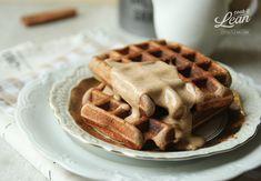 Paleo waffles with hazelnut sauce