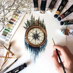 Compass, mountains, river of stars flows tattoo. Mountain antique compass and mi …… – Tatoo trends, noel plans, best ideas Nature Tattoos, Body Art Tattoos, Forest Tattoos, Tatoos, Watercolor Paper, Watercolor Paintings Tumblr, Watercolor Heart, Tattoo Watercolor, Painting & Drawing