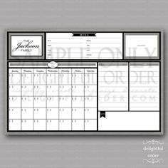 20x30 Custom Gray   Message Center Calendar  by DelightfulOrder