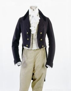 Blue tailcoat with velvet collar and brass buttons. Museum of London 1801-30