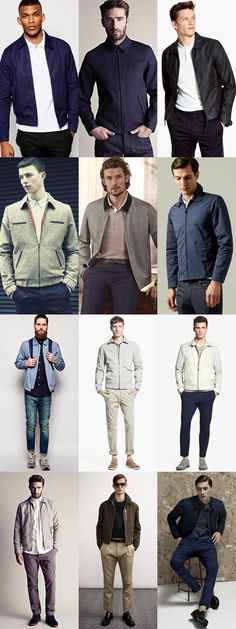 Men's Collared Bomber and Harrington Jackets Outfit Inspiration Lookbook