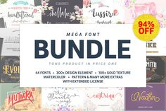 Mega Handmade Font Bundle by Lostvoltype. Please say Hello to my big pack font bundle. Contain 44 handmade fonts and ton of graphic element. Very perfect for invitiation, logo, t-shirt design, etc. cheap fonts, commercial use. Cute Fonts, Pretty Fonts, Beautiful Fonts, Twitter Font, Hand Lettering Fonts, Typeface Font, Texture Web, Christmas Fonts, Design Typography