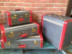 4 piece Vintage Luggage Set. $290.00, via Etsy.