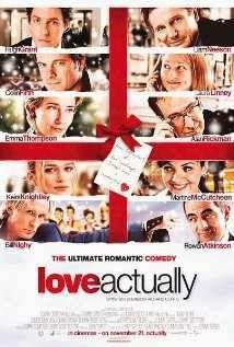 Love Actually 2003 Film  Follows the lives of eight very different couples in dealing with their love lives in various loosely and interrelated tales all set during a frantic month before Christmas in London, England.  Release date: November 6, 2003 (USA) Director: Richard Curtis MPAA rating: R Screenplay: Richard Curtis Music composed by: Craig Armstrong Cast: Hugh Grant, Keira Knightley, Colin Firth, Liam Neeson, Emma Thompson, Alan Rickman, Andrew Lincoln, & Laura Linney
