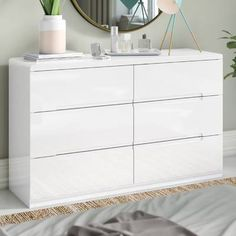 Atsabe 6 Drawer Chest is a modern, ultra chic double dresser with a stunning high gloss lacquer with recessed handles enabling easy opening and creating a clean contemporary image. Stair Drawers, Bunk Beds With Drawers, Bunk Beds With Stairs, Pine Bedroom Furniture, Bedroom Furniture Makeover, Small Furniture, Bedroom Ideas, White Chest Of Drawers, 6 Drawer Chest
